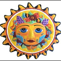 Yellow Sun Metal Wall Hanging - Metal Art - Painted Garden Decor - 24""
