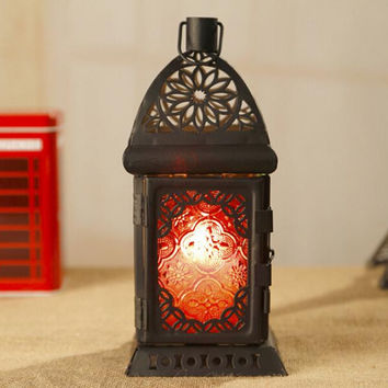 Black Retro Metal Candle Holder Candle Lamp Light Box Hanging Home Decor TY209