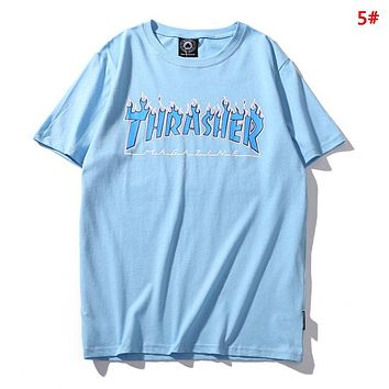 Thrasher New fashion flame letter print couple top t-shirt 4#