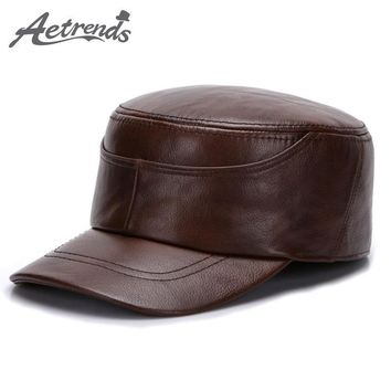 Genuine Leather Military Captain' s Hat for Men