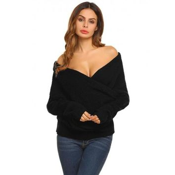 Women Casual Long Sleeve V-Neck Cable Knit Pullover Sweater