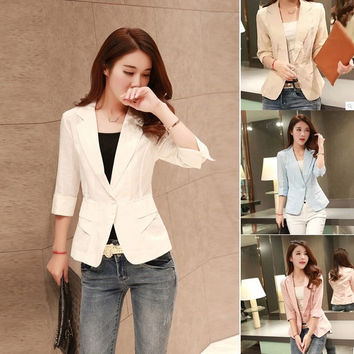 2015 New Fashion Women Slim Blazer Coat Casual Jackets 3/4 Sleeve One Button Suit OL Outerwear = 1667671940