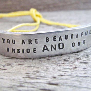 You Are Beautiful Inside And Out Bracelet ONE Custom Hand Stamped Jewelry Name Tie On Hemp Cord Personalized BFF Besties Jewelry Tiny Font