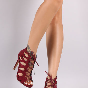 Suede Teardrop Cutout Lace-Up Stiletto Heel