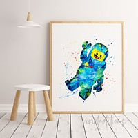 Benny, Lego Man Watercolor Art Print