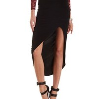 Maxi Skirt with Ruched Side & Front Slit by Charlotte Russe