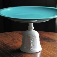 Cake Stand Dessert Pedestal Milk Glass And Teal By by elizalee17