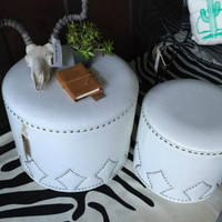 Large White Studded Ottoman