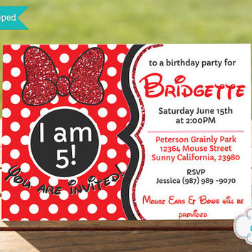 Glam Mouse Invitation / Minnie Inspired Birthday Party Invitation