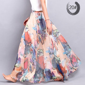 Casual Chiffon Skirt Summer Women Bohemian Floral Print Beach Maxi Pleated Flower Long Skirt