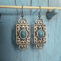 Western Silver Earrings With Turquoise stones