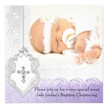 Baptism Purple White Lace Photo Jewel Cross Girl 5.25x5.25 Square Paper Invitation Card
