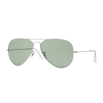 Original Aviator Sunglasses, Silver/Green - Ray-Ban