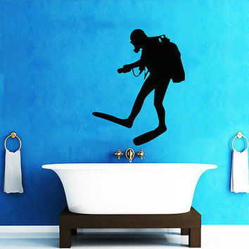 DIVER WALL DECALS DECAL VINYL STICKER BATHROOM DECOR DIVING SPORT ART MURAL N196