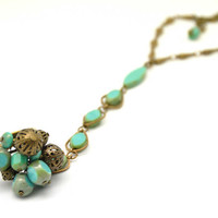 Fabulous ring bracelet, made with turquoise czech glass, picasso beads, antique brass