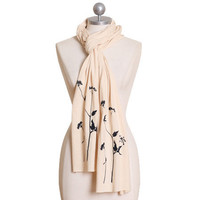 out on a limb cream indie scarf - $27.99 : ShopRuche.com, Vintage Inspired Clothing, Affordable Clothes, Eco friendly Fashion
