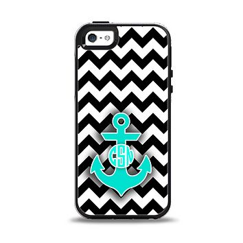 The Teal Green Monogram Anchor on Black & White Chevron Apple iPhone 5-5s Otterbox Symmetry Case Skin Set