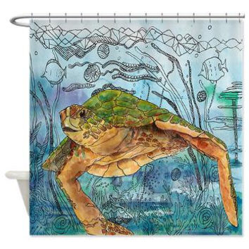 Artistic Shower Curtain - Shelley of the Blue Sea -  Watercolor Art, Sea Turtle, Surf, beach, surfer, blue, coastal decor, bathroom