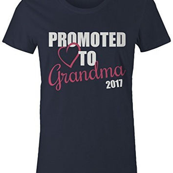 Shirts By Sarah Women's Promoted To Grandma 2017 T-Shirt New Grandparents Baby Reveal