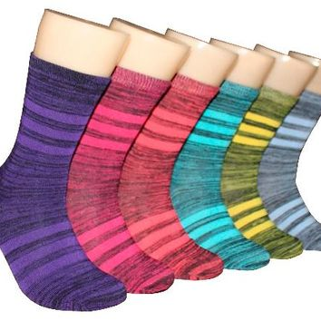 Women's Marled Stripe Crew Socks - Size 9-11