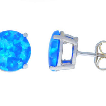 14Kt White Gold Blue Opal Round Stud Earrings