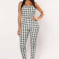 Work From Home Houndstooth Jumpsuit - Black/White