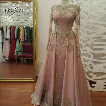 QSYYE 2017 abendkleider Long Sleeve Evening Dress Long Prom Dresses with Gold Lace Beadings Floor Length Satin Formal Party Gown