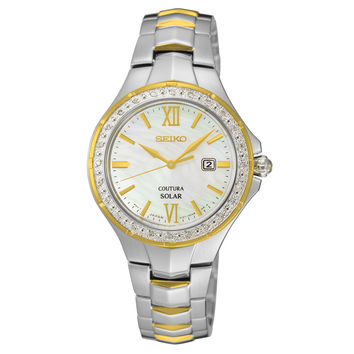 Seiko SUT240 Women's Watch 24 Diamond Accented Bezel Solar Mother of Pearl Dial