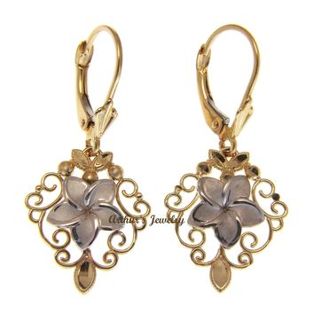 14K WHITE GOLD HAWAIIAN PLUMERIA FLOWER YELLOW GOLD FILIGREE LEVERBACK EARRINGS