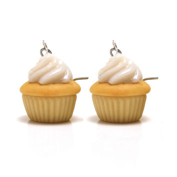 Classic Vanilla Cupcake Dangle Earrings