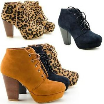 Womens Ankle Boots Platform Chunky Heel Almond Toe  Lace Up Booties Shoes New