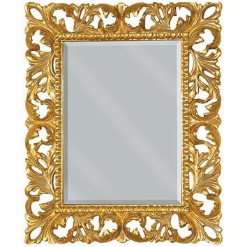 GM Luxury Umbria Rectangular Decorative Wall Art Mirror for Elegan Design, Gold Leaf