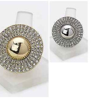 Gold Crystal Medallion Stretch Ring in Gold Or Silver Tone