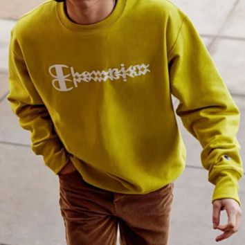Champion New Fashion Bust Letter Print Couple Long Sleeve Sweater Top Yellow