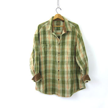 Oversized THICK Cotton Flannel Shirt Green Plaid 90s Grunge Shirt Button Up Corduory Cuffs Vintage Work Shirt Rugged Hunting Shirt Men 2XL