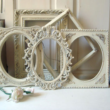 Cream Vintage Frame Set, Distressed Set of 5 Open Frames, Shabby Chic Off White Frame Gallery, Ornate Frames, Oval Ornate Frame