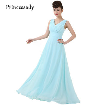 Long Light Blue Dress Bridesmaid Dress Chiffon Formal Dresses Of Party Wedding Solid Pastel Blue Prom Party Dresses For Juniors