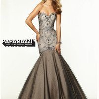 Sweetheart Beaded Tulle Mermaid Paparazzi Prom Dress By Mori Lee 97096