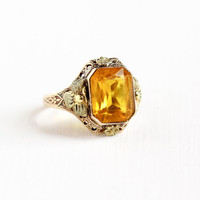 Vintage 10k Rose Gold Simulated Citrine Filigree Ring - Antique Size 7 Art Deco 1930s OB Ostby Barton Two Tone Flower Motif Fine Jewelry