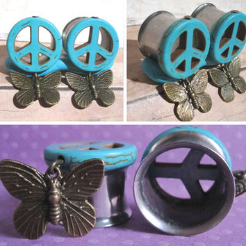 """Pair of Turquoise Peace Sign Tunnels with Brass Butterfly Charms - Handmade Girly Gauges - 00g, 7/16"""", 1/2"""", 9/16"""", 5/8"""", 3/4"""""""