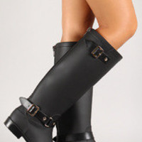 Buckled Straps Zip Up Knee High Rain Boot