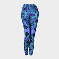 Design: Aqua/Purple Pattern - Leggings, Women's Leggings, Women's Fashion, Women's Clothing, Active Wear, Fashion Accessory, Gift For Her