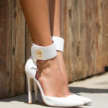 Thicken Ankle Buckle Pointy Toe Pumps White/Black Leather High Heels Shoes