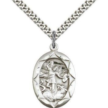 "Sterling Silver Saint Michael The Archangel Medal Men Women 24"" Chain Necklace"