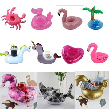 Party Decoration Mini inflatable Unicorn Flamingo Swimming Pool float Drink Float Cup Holder rainbow PVC Bathing pool Kid Toy