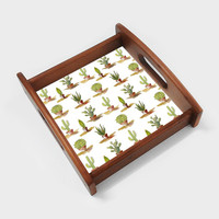 Potted Cactus Plants Botanical Pattern Serving Tray | Artist : Seema Hooda