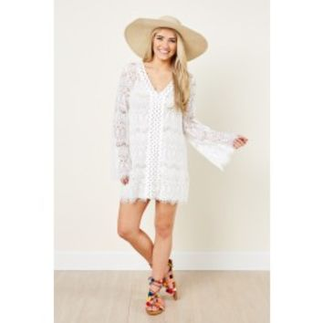 Fringe Go Overboard White Lace Cover Up