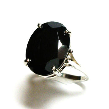 "Hematite, AAA hematite, hematite ring, solitaire ring, black ring, engagement ring, s 7 1/2  ""Turbine"""