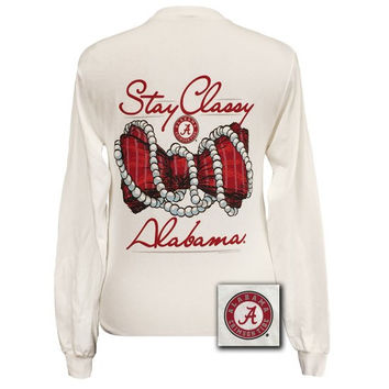Alabama Crimson Tide Preppy Stay Classy Pearls Bow Long Sleeve T Shirt