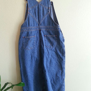 Denim Overall Bib Front Maxi Dress Size 14  100% Cotton by The Territory Ahead